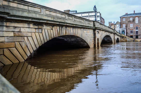 Flood, York, UK, city, urban, bridge