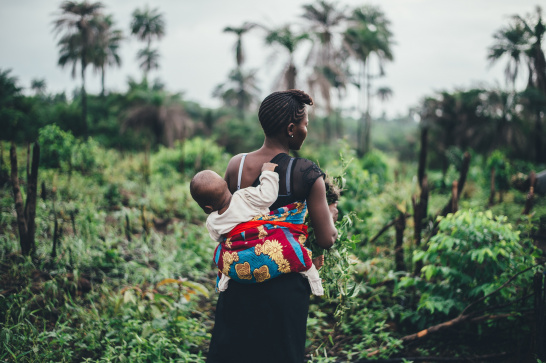 Sierra Leone, forest, woman, baby