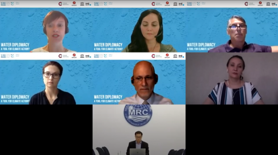 screenshot, water diplomacy a tool for climate action, event webinar