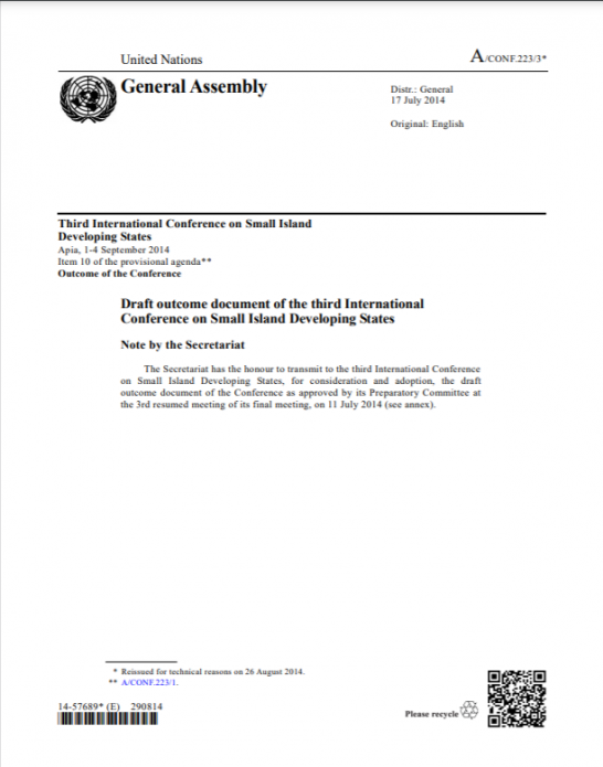 Draft outcome document of the third International Conference on SIDS