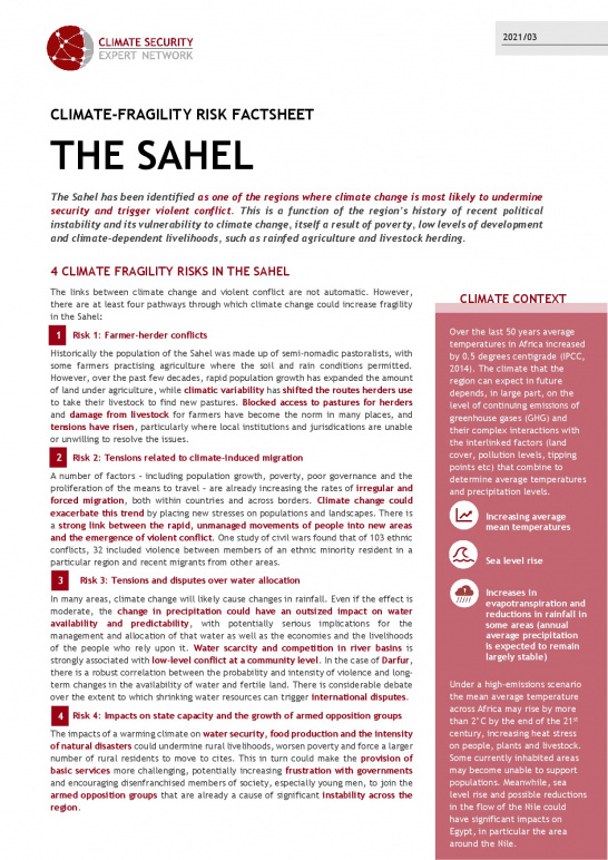 Cover Factsheet Sahel