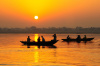 India, Ganges, river, boat, fishermen