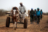 farmer, Darfur, cart, UNAMID troops