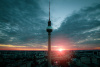 Berlin, skyline, sunset, antenna